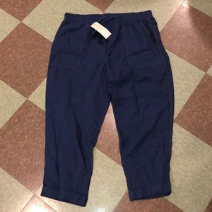 JNY Linen cuff crop pants drawstring 14 Lg blue